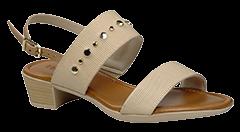 Sandália Usaflex Nude com detalhes dourado