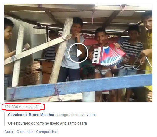 Imagem parcial de uma página do Facebook com edição que enfatiza as 321.334 visualizações do vídeo