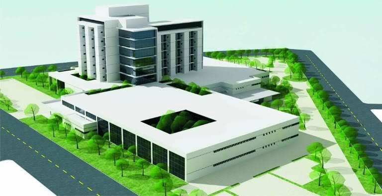 Maquete de um grande hospital