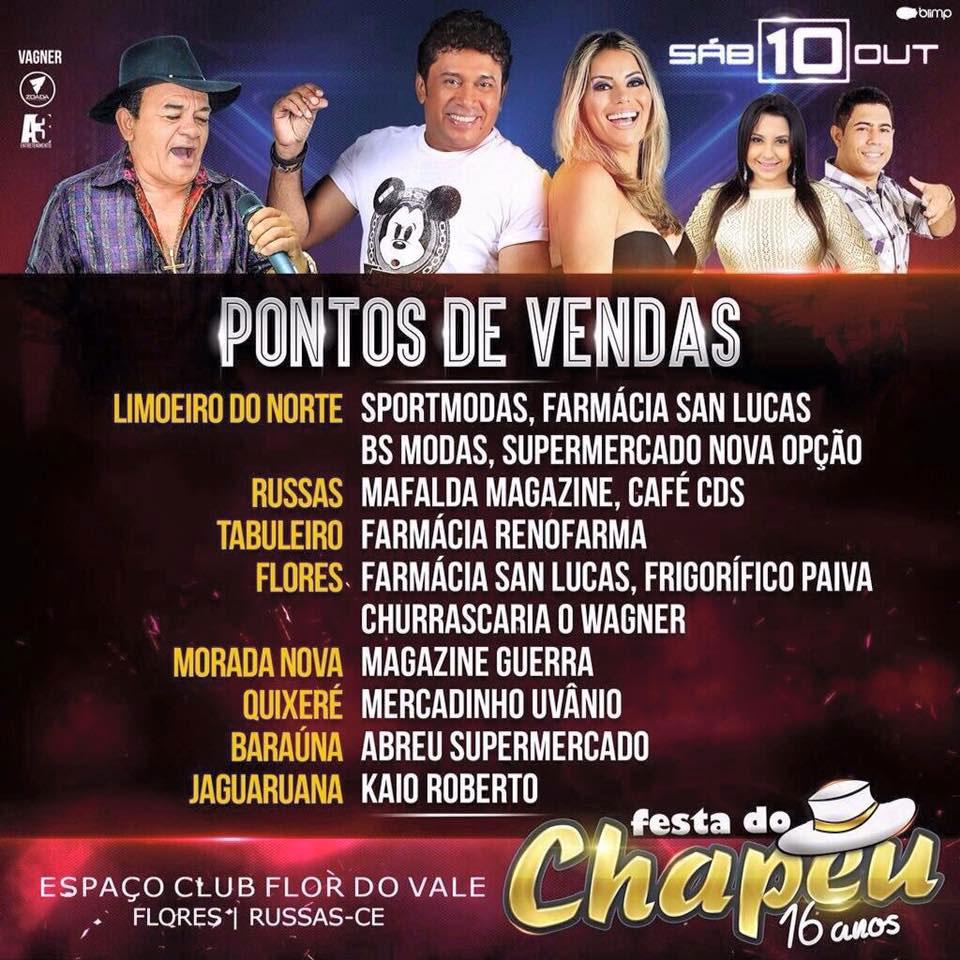 Banner da Festa do Chapéu com a lista dos pontos de vendas.