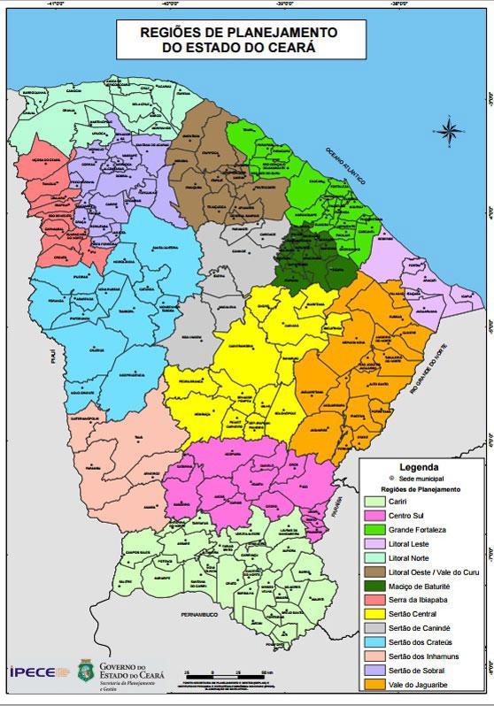 Mapa do Estado do Ceará com municípios sinalizados por regiões de planejamento