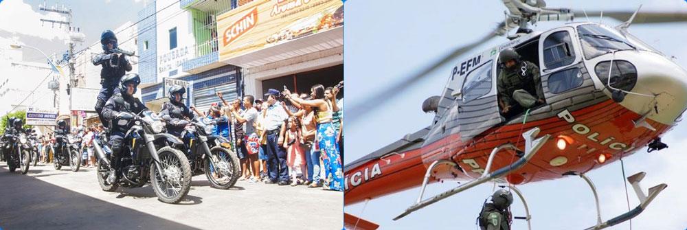Montagem com duas fotos, sendo uma com policiais em desfile sobre motocicletas e na outra realizando decida por cabos preso em helicóptero.