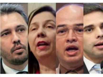 Montagem com foto do rosto de quatro deputados