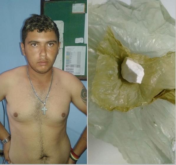 Montagem com a foto de Francisco Graciliano Morais de Oliveira e uma pedra de cocaína.