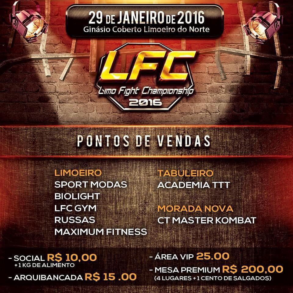 Banner com informações da LFC - Limo Fight Championship 2016 que acontecerá dia 29 de janeiro de 2016